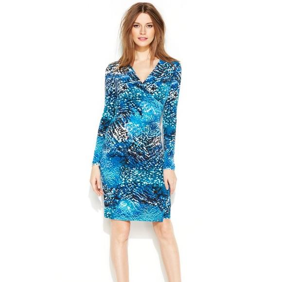 5ef67f104ba Calvin Klein Python Print Faux Wrap Dress